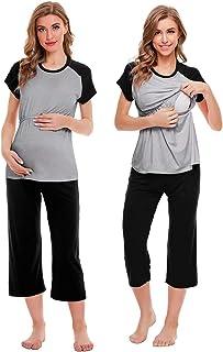 SWOMOG 女式孕妇睡衣套装双层短袖孕妇睡衣