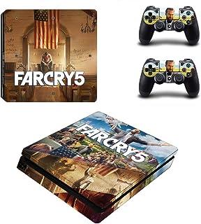 Adventure Games - PS4 SLIM - Far Cry 5 - Playstation 4 乙烯基控制台皮肤贴纸 + 2 个控制器外壳套装