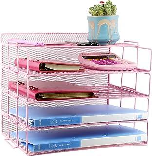 Fivtyily 4 层桌面收纳架可堆叠纸托盘金属网文件信纸托盘桌面收纳盒适用于家庭办公室学校(粉色)