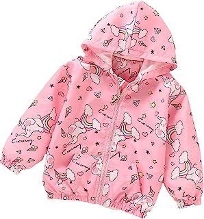 幼儿春季夹克独角兽风衣女孩外套轻质外套长袖休闲外套。