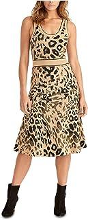 Rachel Roy 女式米色动物印花无袖低圆领中长款紧身连衣裙 M 码