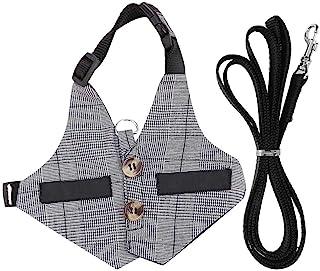 TOPINCN 兔子胸背带可爱兔子背心胸背带和皮带套装带纽扣装饰宠物可调节正式西装风格格子条纹胸背带 灰色 (S)