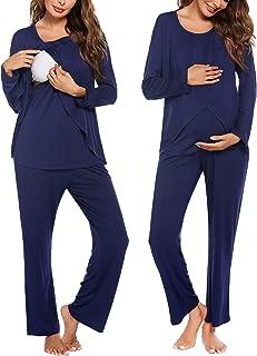 Ekouaer 女式孕妇哺乳睡衣套装柔软怀孕哺乳睡衣(S - XXL 码)