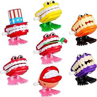 Sumind 7 件 Chattering Teeth 发条走牙玩具带*有趣的笑话玩具牙齿派对万圣节圣诞节桌面装饰