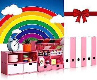 粉色桌面收纳包,带 6 个杂志文件夹收纳包 4 个抽屉和 14 个隔层 - 大容量的固定收纳袋,适用于家庭、学校、办公用品、FSC 认证的纸板、DIY 项目