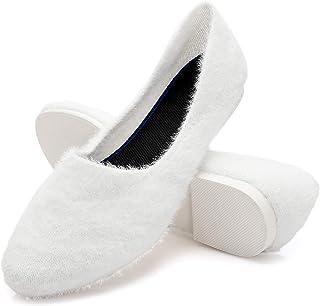 AOMAIS 女式毛绒网眼平底鞋圆头芭蕾平底鞋针织一脚蹬鞋蓬松滑梯