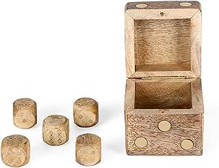 Penguin Home 3280 游戏骰子盒 带5个骰子 木头 木色 6.4 x 6.4 x 6.4 x 6.4 厘米