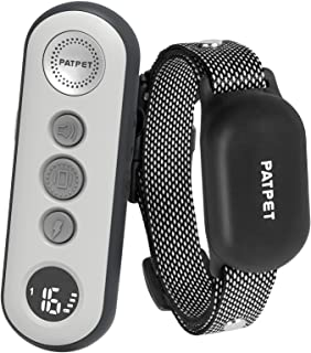 PATPET 2 合 1 狗狗训练项圈,带 3 种*训练模式,可充电 IPX7 防水冲击项圈,带遥控器,3000 英尺控制,非常适合小型犬(5-100 磅)- 电动狗狗吠项圈