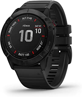 Garmin 010-02157-00 Fenix 6X Pro 高级GPS运动手表,具有制图,音乐,坡度调整的步速引导和脉冲氧传感器,黑色