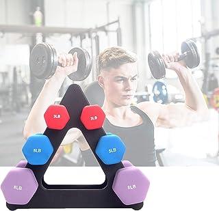 Intelligence 哑铃架支架,重量树架,3 层哑铃套装,带机架强度训练举重架,适用于家庭健身房组织(黑色)