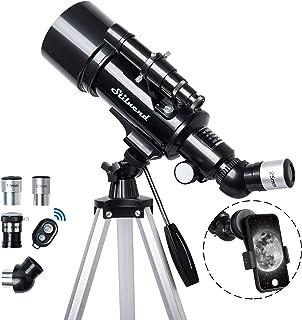 望远镜 70 毫米光圈 500 毫米 - 适合儿童和成人 天文折射便携式望远镜 AZ 安装完全多涂层光学器,带三脚架手机适配器,无线遥控,便携包