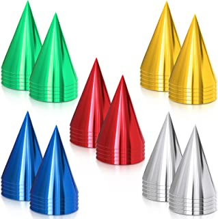 50 件 Cone 派对帽金属箔圆锥帽彩色派对圆锥形帽生日纸帽适用于生日派对,金色,银色,红色,*,蓝色