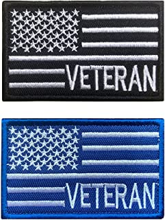 Antrix 2 件装战术美国退伍军人国旗补丁钩和环刺绣军事退伍军人骄傲徽章补丁适用于退伍军人衣服帽袋背包背心制服 - 退伍军人 2