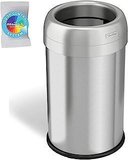 iTouchless,49 升顶垃圾桶和回收箱,带气味控制系统,不锈钢商用级,大号 12 英寸开口,适用于家庭,餐厅,洗手间,办公室,49 升,圆形,13 加仑(约 30.4 升)