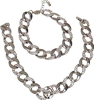 Urban Classics 中性基本款钻石项链和手链套装袖扣