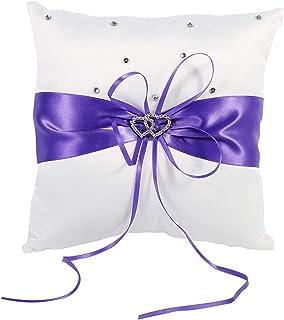 Tyenaza 结婚戒指枕,4 色可爱芽婚礼口袋戒指枕垫轴承,白色蝴蝶结环轴承枕(紫色)