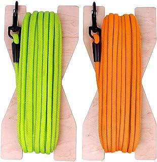 BRONZEDOG 止回绳 30 英尺(约 9.1 米)长狗狗训练皮带跟踪线重型狗狗绳索木制上链(霓虹绿)