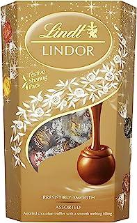 Lindt Lindor 瑞士莲 什锦巧克力松露盒 - 约 48 个球,600 克 - 各种牛奶,白色,超黑和榛子巧克力球