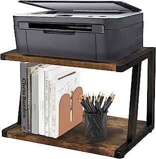 乡村风格桌面打印机支架 家庭和办公室整理和存储桌面架 办公桌支架 书架 完美2层木桌面收纳盒 适用于打印机、传真机、扫描仪、办公用品