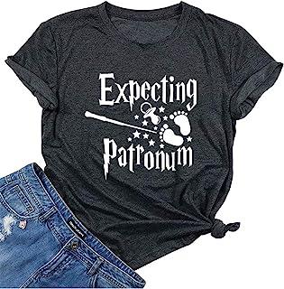 Expecting Patronum 孕妇 T 恤女士怀孕公告衬衫趣味字母印花孕妇妈妈 T 恤上衣