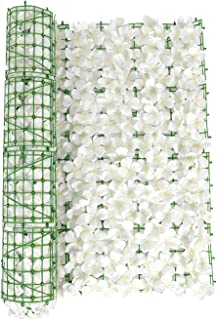 LKEREJOL 隐私屏幕人造花格子架可扩展围栏隐私屏幕人造绿篱人造常春藤格子篱笆边框花园栅栏婚礼装饰(白色,尺寸:299.74 x 50.80 厘米)