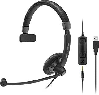 Sennheiser SC 45 USB MS 插座音频耳机 - 黑色头带耳机(呼叫中心办公室、插座、头带、黑色,在线、有线控制)