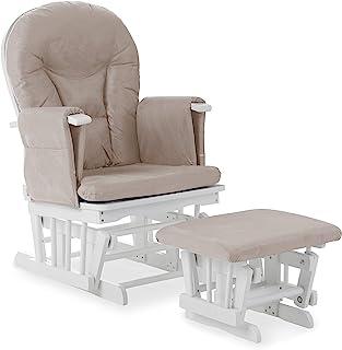 Obaby 斜倚滑翔椅和凳子 - 白色带沙垫