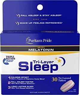 Puritan 的 Pride 三层时间释放技术有助于促进睡眠,30 片由清教徒的骄傲, 30 片