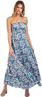 Tiare Hawaii - 吉普赛舞者连衣裙 | * 人造丝太阳裙 | 露肩无肩带 | 休闲波西米亚长裙 | 花卉沙滩绑带 | 热带荷叶边罩衫女式紧身胸衣。