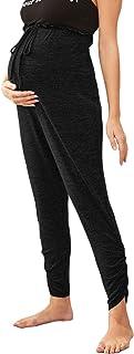 MakeMeChic女式孕妇运动裤褶边下摆束带纸袋腰部孕妇裤