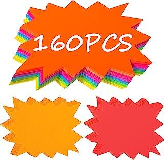 160 件爆裂标志荧光霓虹标牌爆裂纸标牌空白星形标签销售纸展示标志商店(小号尺寸 11.9 x 8.1 厘米)
