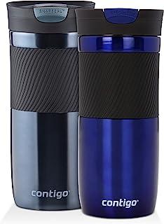 Contigo 康迪克 SnapSeal Byron 真空隔热不锈钢旅行杯,16盎司/约473.12 毫升,Deep Sea and Stormy Weather(深蓝色和雾蓝色)