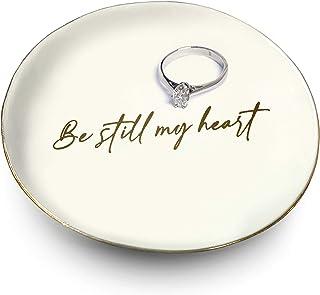 Ceramic Be Still My Heart 戒指支架白色和金色装饰   戒指、手链、珠宝、饰品托盘/盘子   非常适合结婚戒指、耳环、钻石戒指和订婚戒指支架   办公室和家居装饰