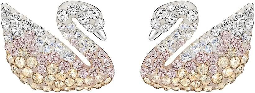 SWAROVSKI 施华洛世奇 女士Iconic Swan渐变色小天鹅穿孔耳环 5215037 (丹麦品牌 香港直邮)