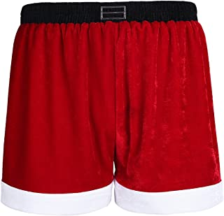 Lejafay 男式 Sissy 内衣天鹅绒圣诞节假日拳击手短裤趣味内裤