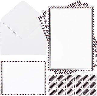 108 件文具纸和信封套装 - 36 张书写纸 + 36 件 A6 带条纹图案的信封 + 36 片密封贴纸,用于写信件假日邀请函(蓝色/红色)