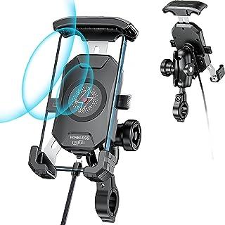 15W 摩托车无线手机支架充电器和 USB C 5V 3A 车把 Qi 快速充电手机支架防盗双插座臂带 1 英寸球防水开关 360 度旋转 适用于 4.0-7.0 英寸手机