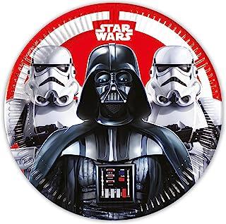 Procos 93440 – 派对餐盘 星球大战决斗,尺寸 23 厘米,8 件,一次性盘子,儿童生日,派对餐具,FSC