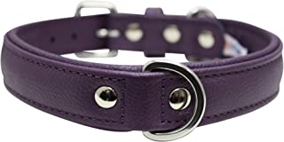 """Leather Dog Collar, Padded, Double Ply, 22"""" x 1"""", Purple, *** Genuine Leather (Alpine) Boxer, Retriever, Pit bull Terrier"""