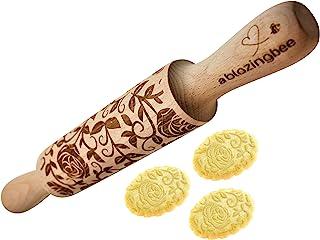 浮雕擀面杖 玫瑰 12 英寸(约 30.5 厘米)多功能雕刻环保天然烘焙配件工具,适用于糕点和艺术火烈鸟