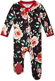 ADUKIDE 女婴睡衣一件式连脚服睡衣前拉链连脚连体裤 0-18 个月