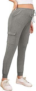 MakeMeChic女式孕妇运动裤翻盖口袋抽绳腰围孕妇裤