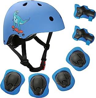 KCENTURY 儿童头盔,自行车头盔,可调节幼儿头盔,适合 5-10 岁男孩女孩,带运动防护装备套装,膝盖肘部护腕,适用于滑板车、骑行、滑板车滑轮