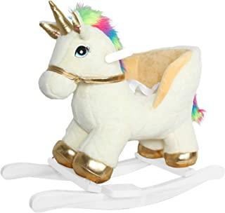 Linzy 长毛绒独角兽摇椅带*带和声音,金色和白色,53.34 厘米