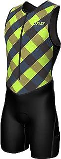 Sparx X 铁人三项套装男式赛车三项骑行皮肤套装自行车游泳跑步(*方格,2XL)