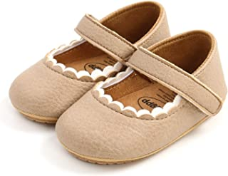 BEBARFER 女婴 Mary Jane 平底鞋防滑橡胶鞋底幼儿学步公主正装鞋婴儿床鞋