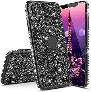 LEECOCO 华为荣耀 8X 手机壳 超薄 3D 豪华印花 PU 皮钱包式手机壳 Plating TPU:Black