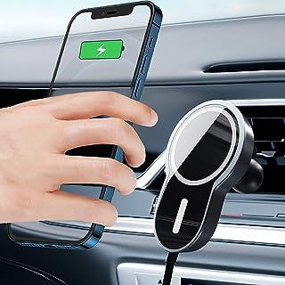 磁性手机车载支架 15w,无线车载充电器兼容各种带 QI 无线充电功能的手机(iPhone 12,Samsung Note 20 等)女士/男士手机支架车载充电器配件