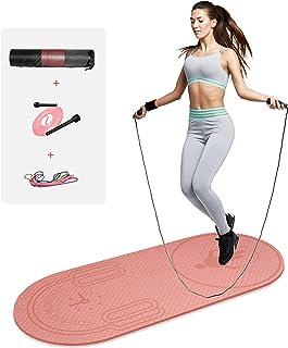 """LERYG 8 毫米跳绳垫健身运动垫耐用防滑健身垫带跳绳和手提袋适用于家庭健身房地板(55 """"x 24"""")"""
