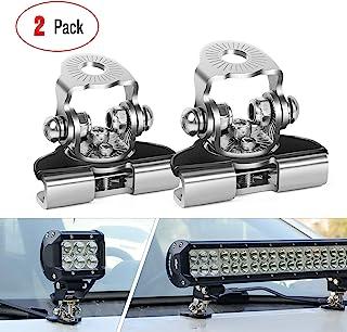 LED 灯条安装支架,Nilight 2 件通用可调节柱形引擎盖 LED 工作灯安装支架夹钳支架,适用于越野吉普卡车 SUV,无需钻孔,2 年保修